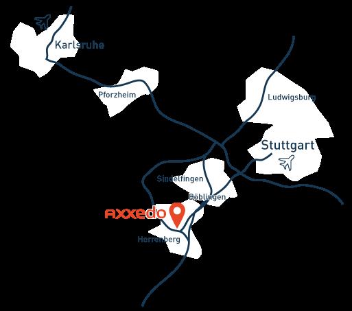 Lokation der Axxedo auf einer Karte der Umgebung